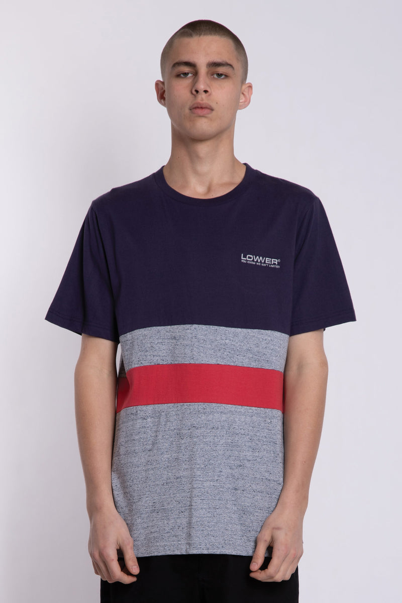 Eurlo Panel Block Tee - Ink/Red/Grey