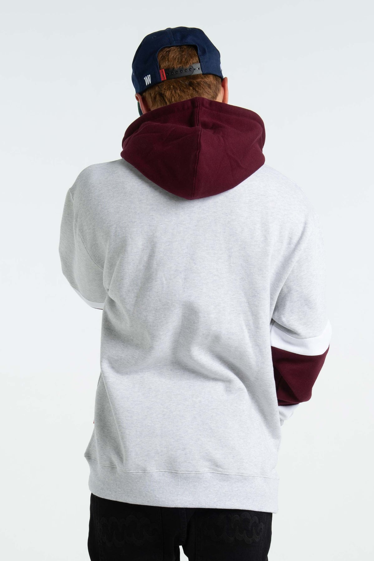 Mens Enforcer Hood - Stadium - Silver Marle/Burgundy/White