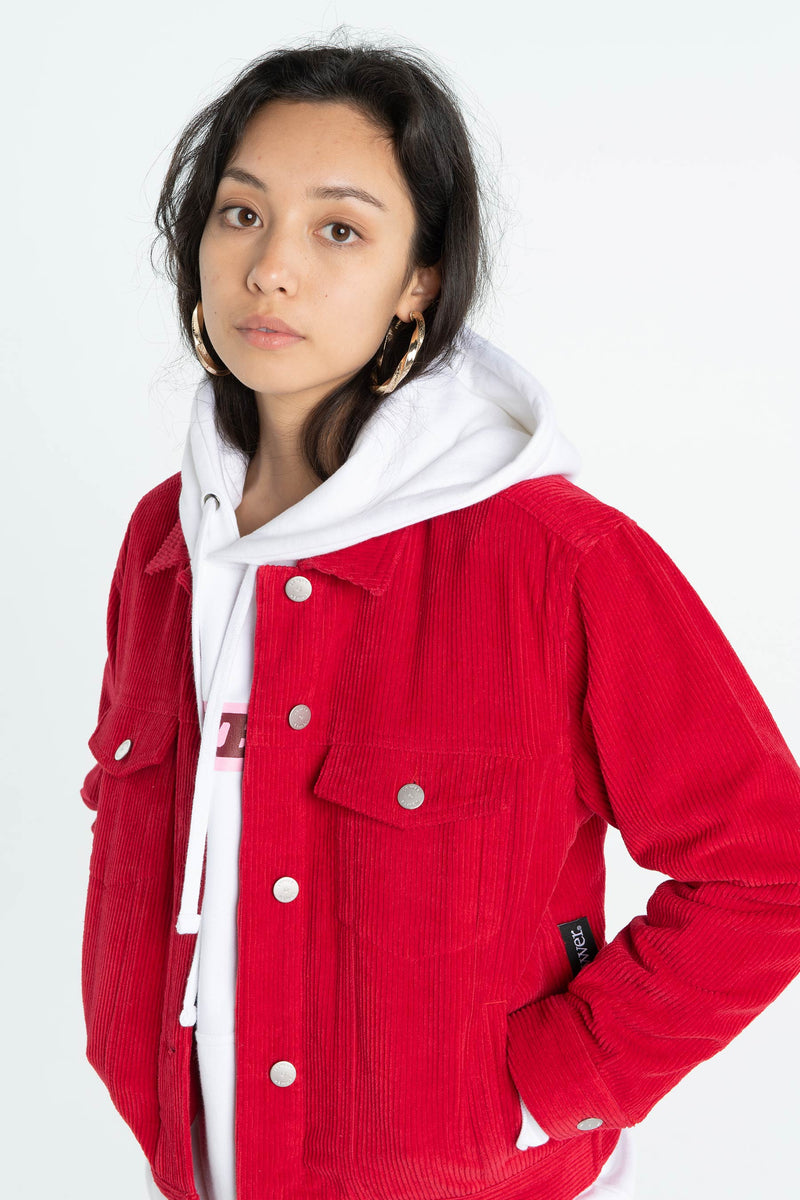 Womens Flynn Cord Jacket - Red