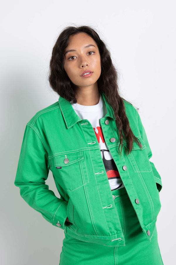 Womens Flynn Jacket - Kelly Green/White Contrast Stitching