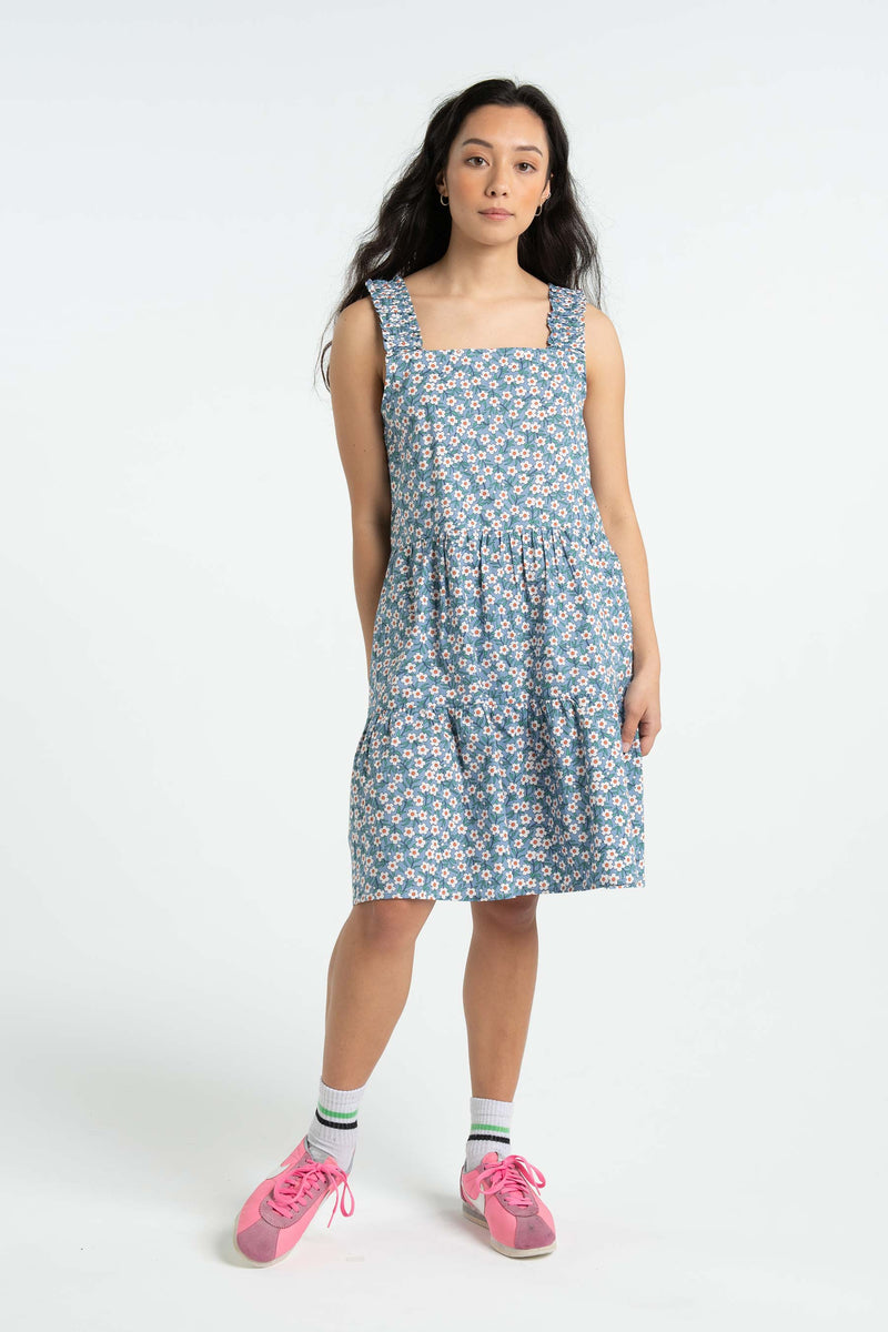 Womens Frill Strap Dress - Blue Floral