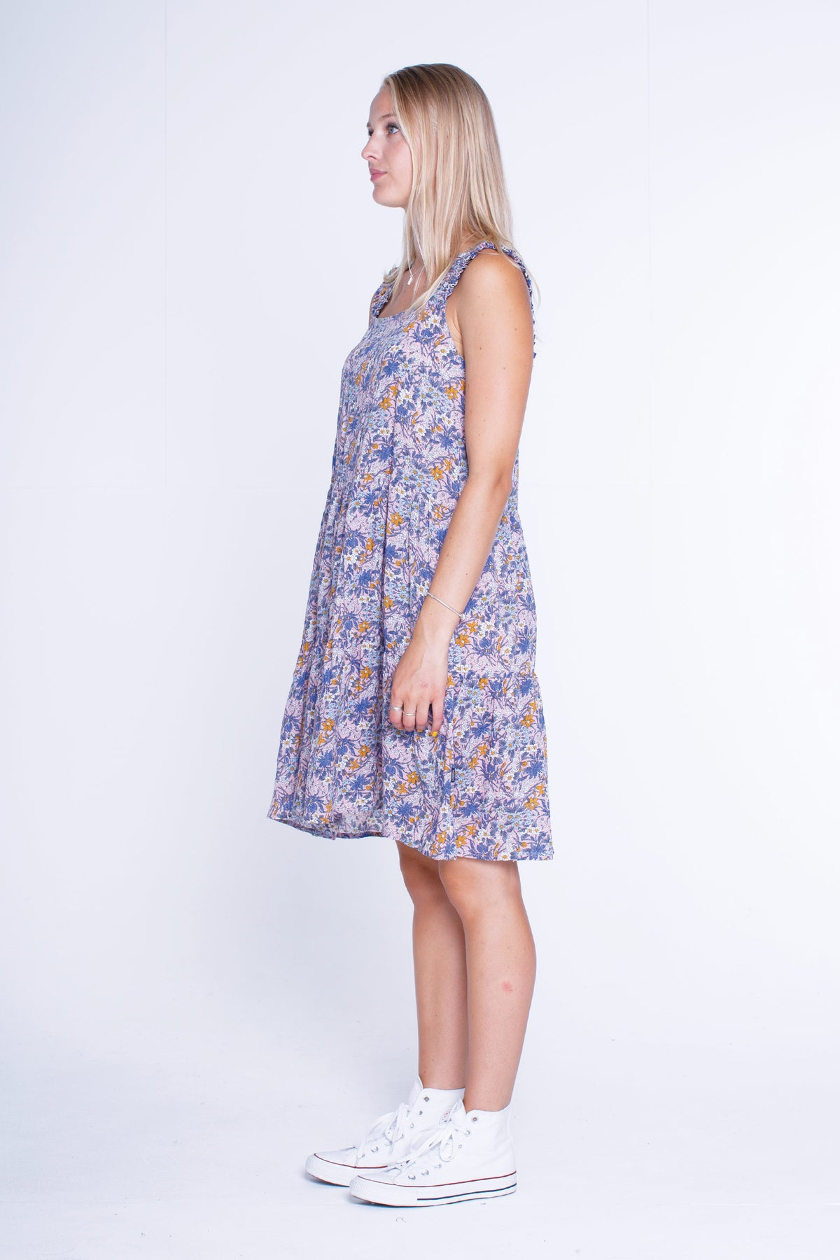 Womens Frill Strap Dress - Pink Floral