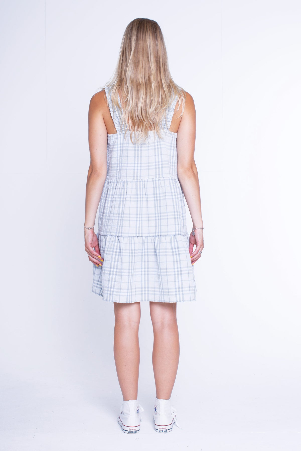 Womens Frill Strap Dress - Light Blue Check