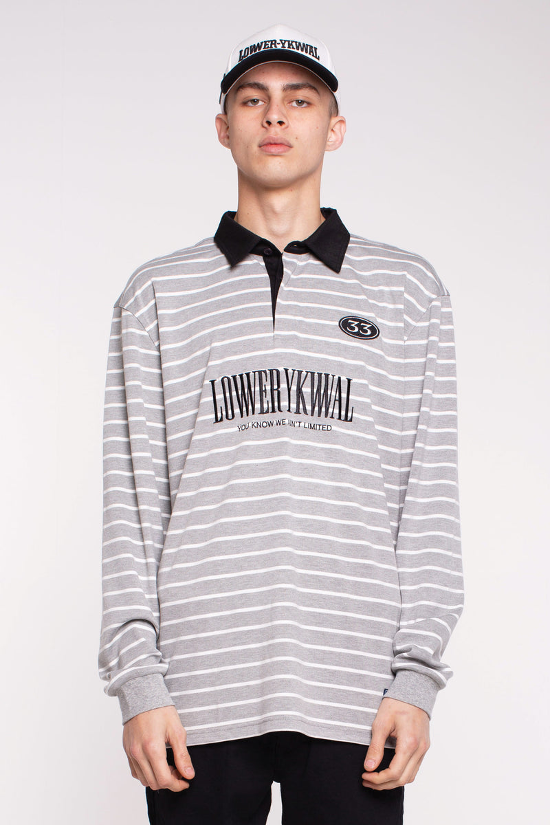 Gambino Street Polo - Grey/White Stripe