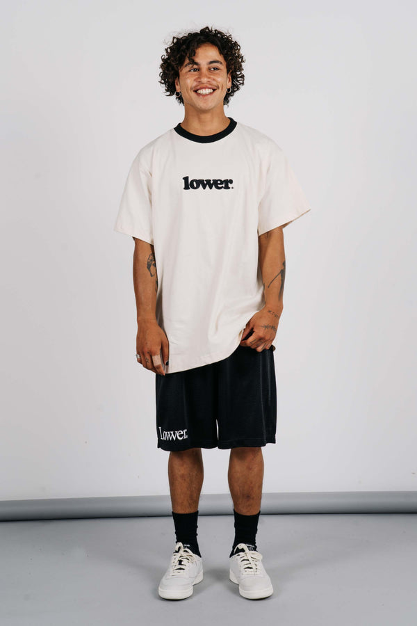 Block Tee - Happy Days - Cream w/Black Neck Line