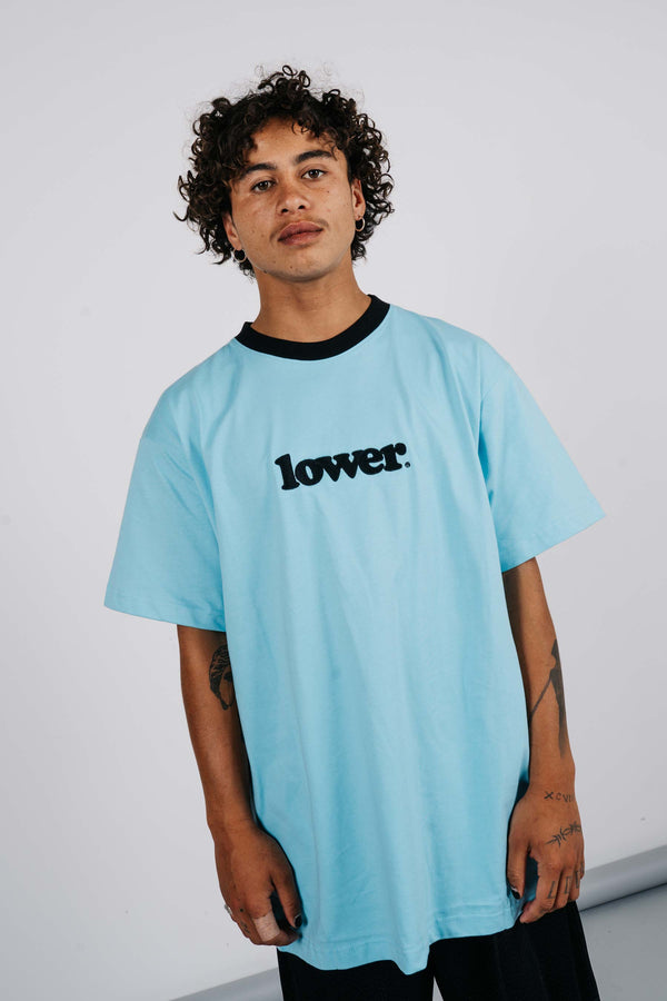 Block Tee - Happy Days - Sky Blue w/ Black Neck Line