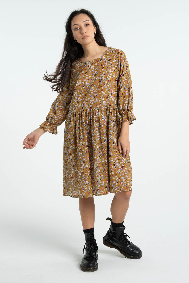 Womens Harland Dress - Mustard Floral