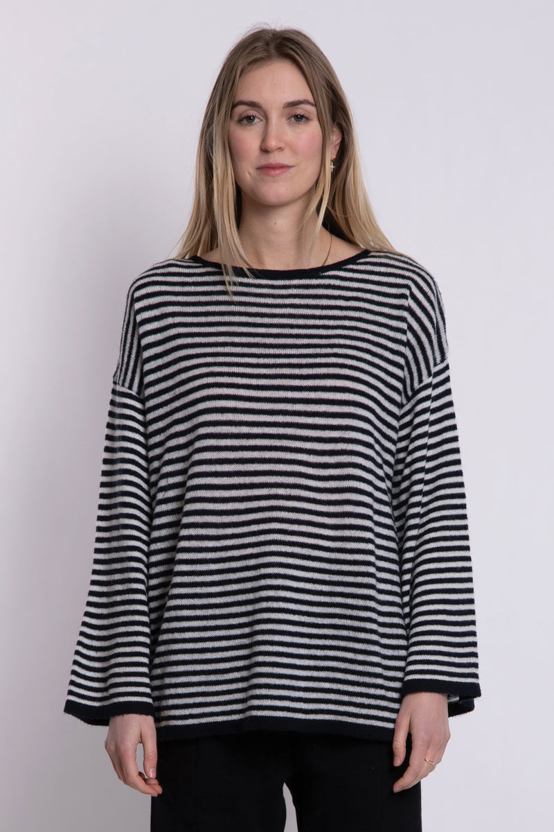 Jill Bell LS Knit - Navy/Grey