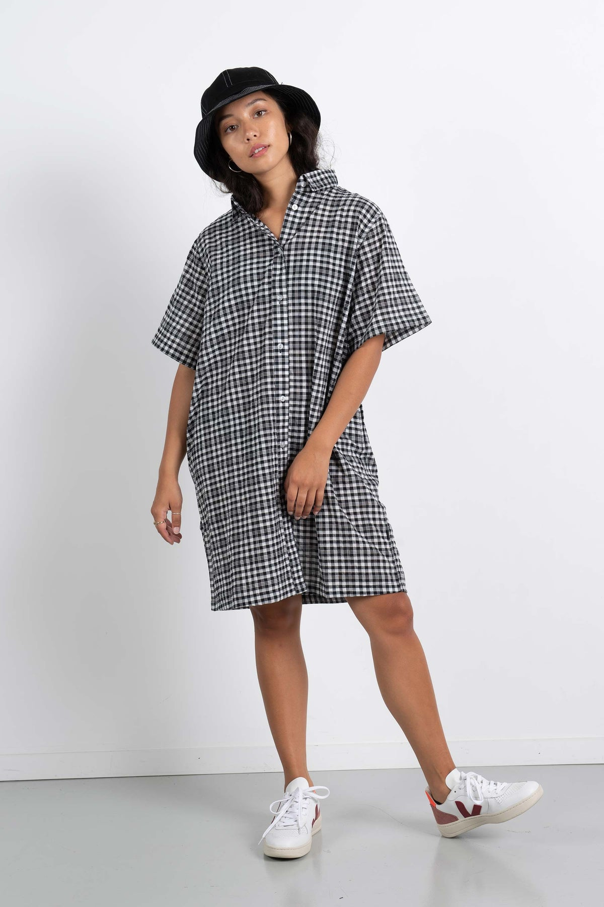 Womens Kali Shirt Dress - Black/White Check
