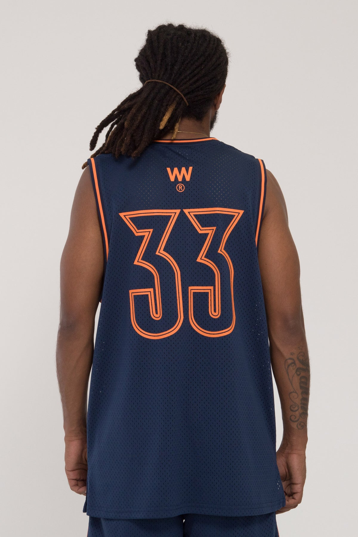 Fadeaway B-Ball Singlet - Navy/Orange