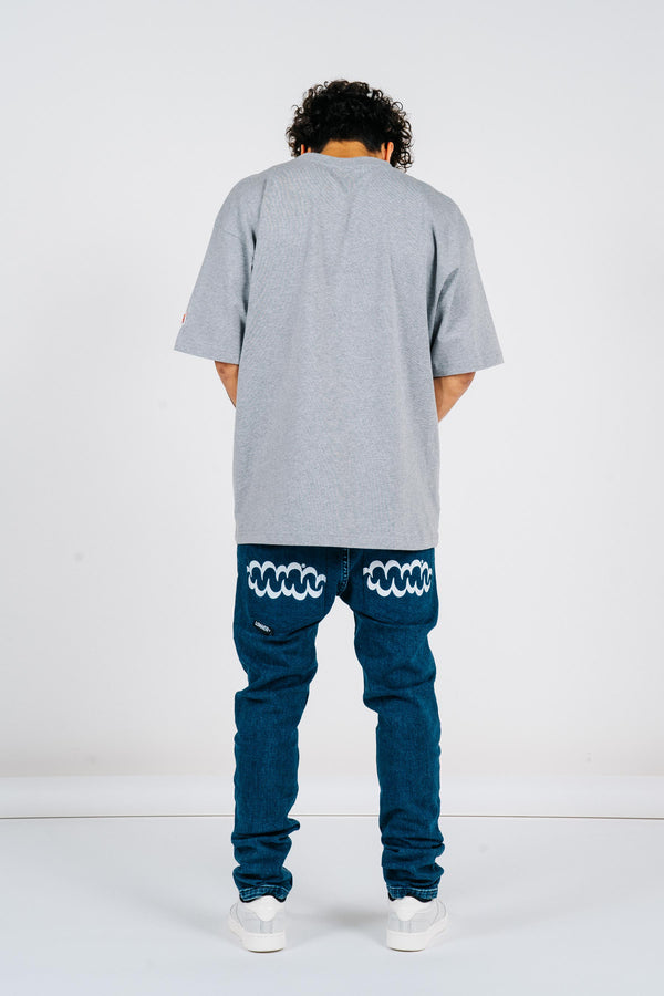 Leaner Jean - Blue Wash/White Print