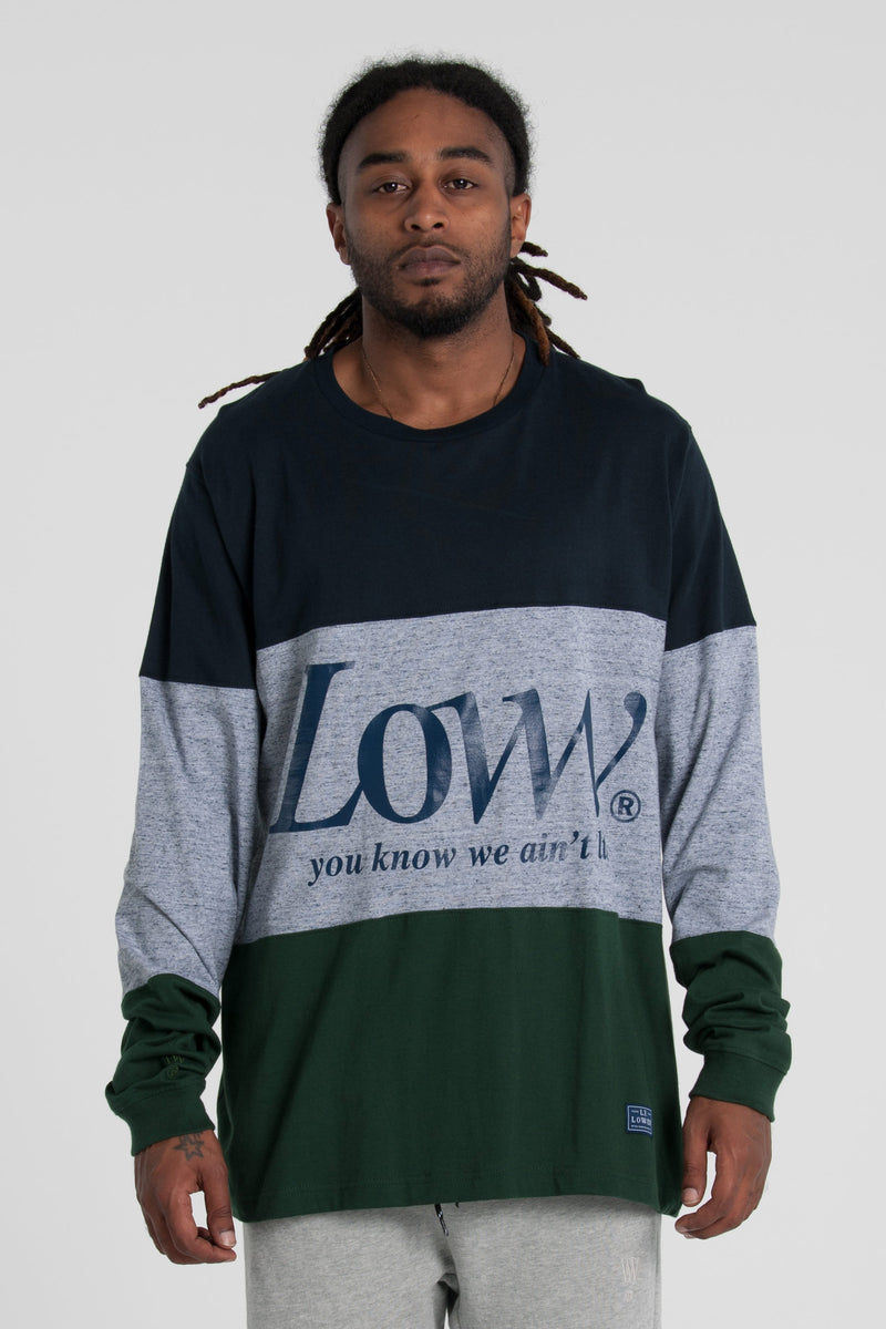 Legion Panelled Long Sleeve Tee - Navy/Grey/Green