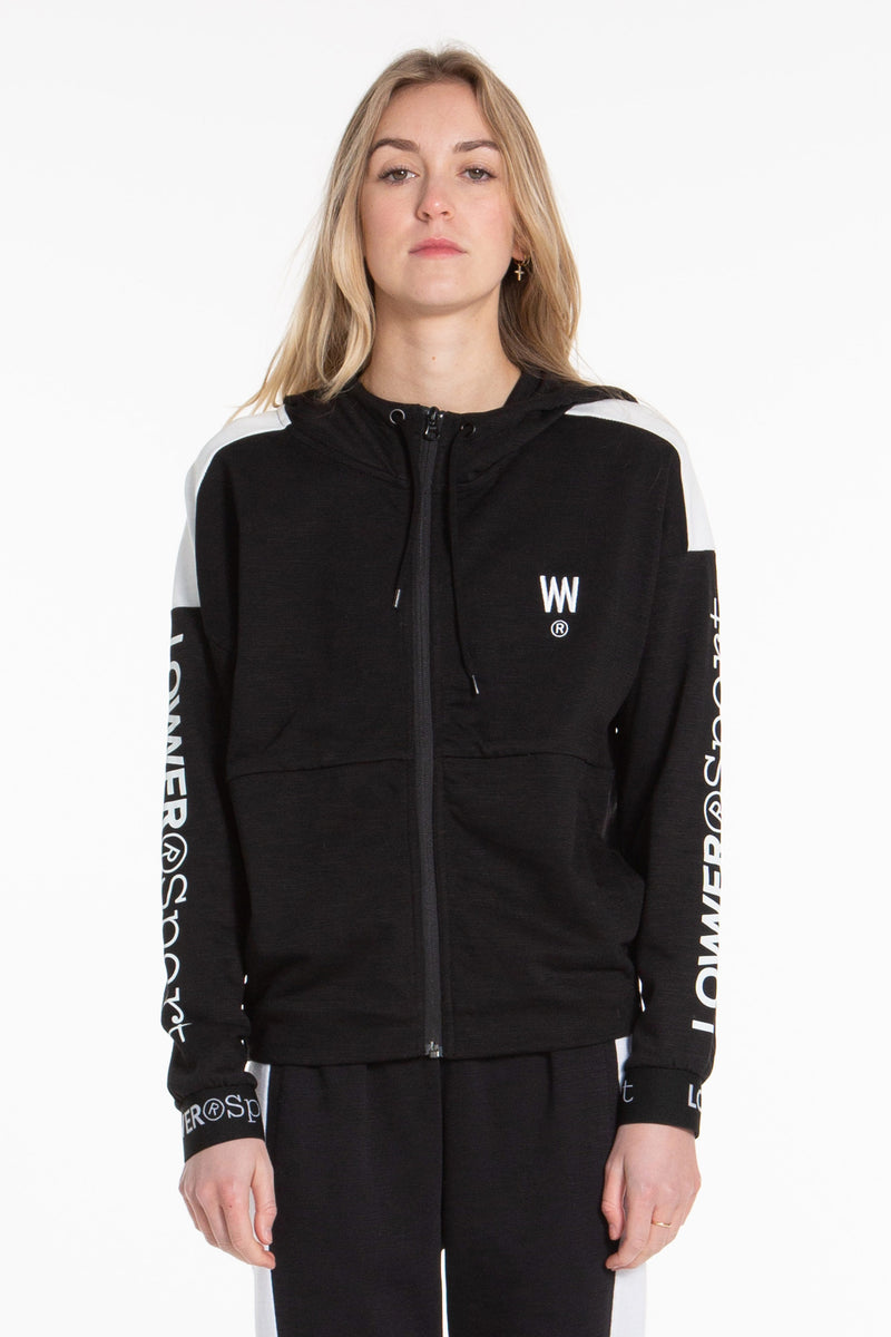 Leisure Zip-up Hood - Black/White