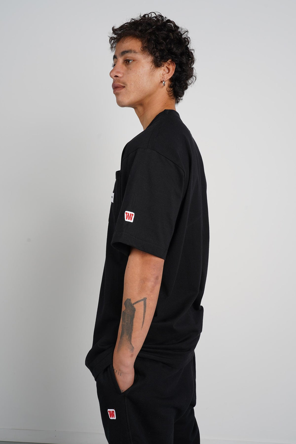 Mens Block Pocket Tee (Heavyweight Organic Cotton) - Washed Black