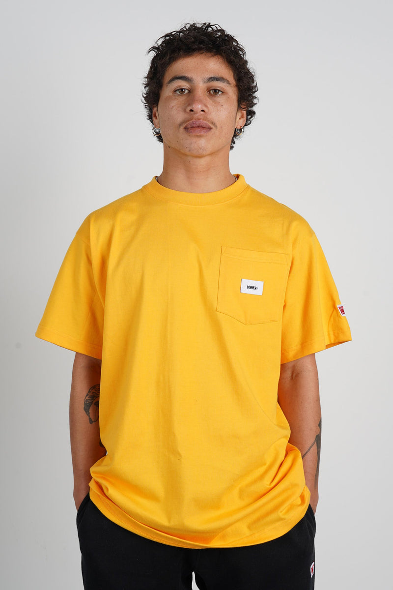Mens Block Pocket Tee (Heavyweight Organic Cotton) - Gold Fusion