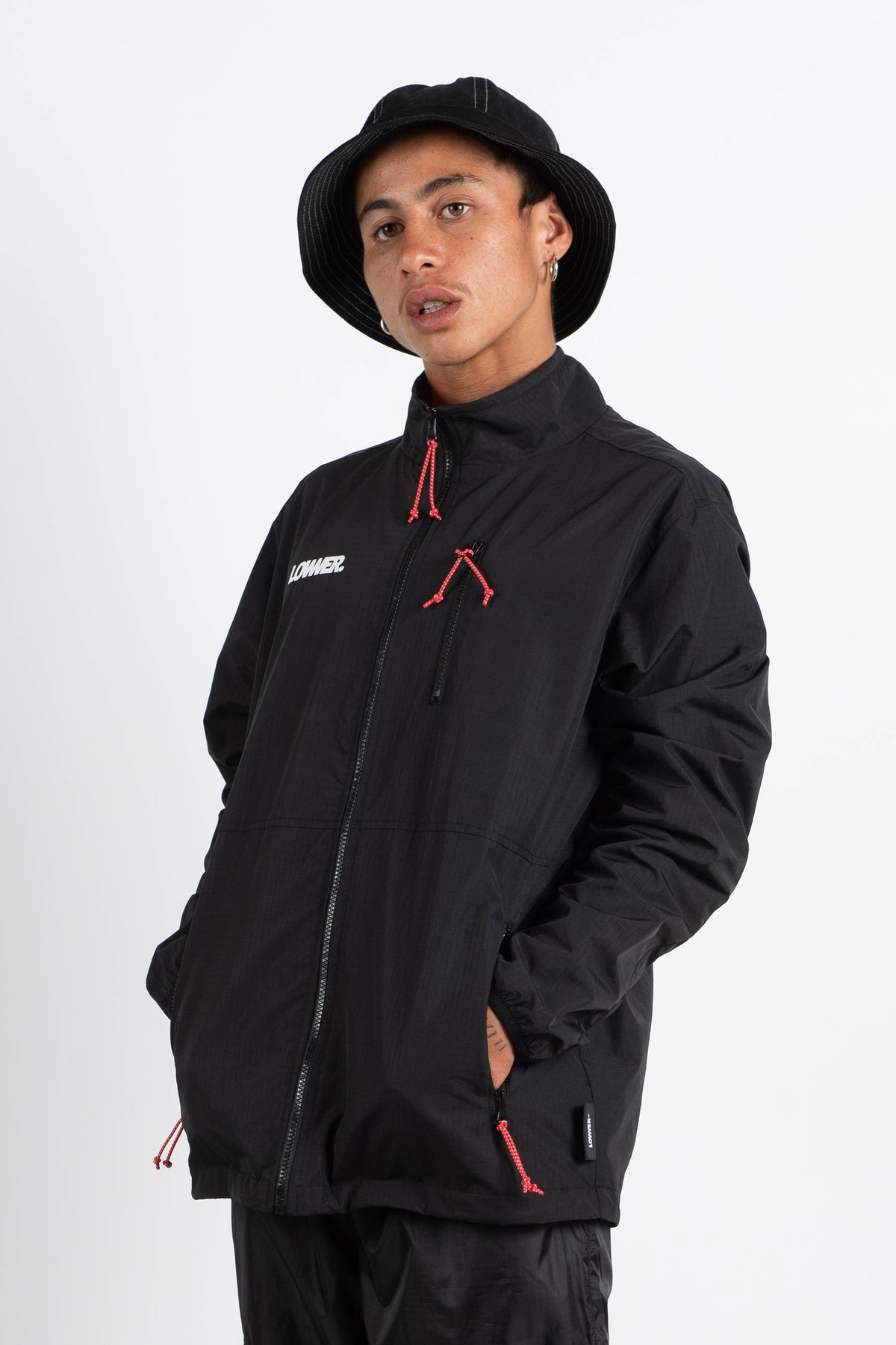 Mens Zip Through Wind Breaker - Ital (Ripstop Nylon) - Black