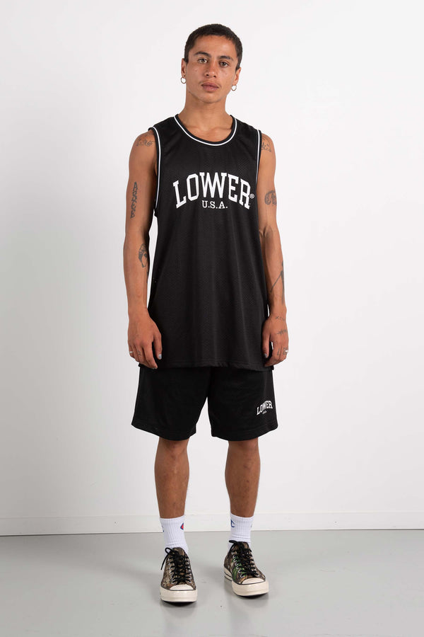 Mens Layer Bball Singlet - Low USA - Black