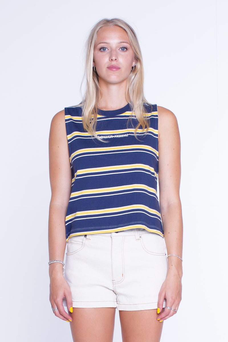 Womens Cropped Tank - Logo - Navy/Yellow/Stripe