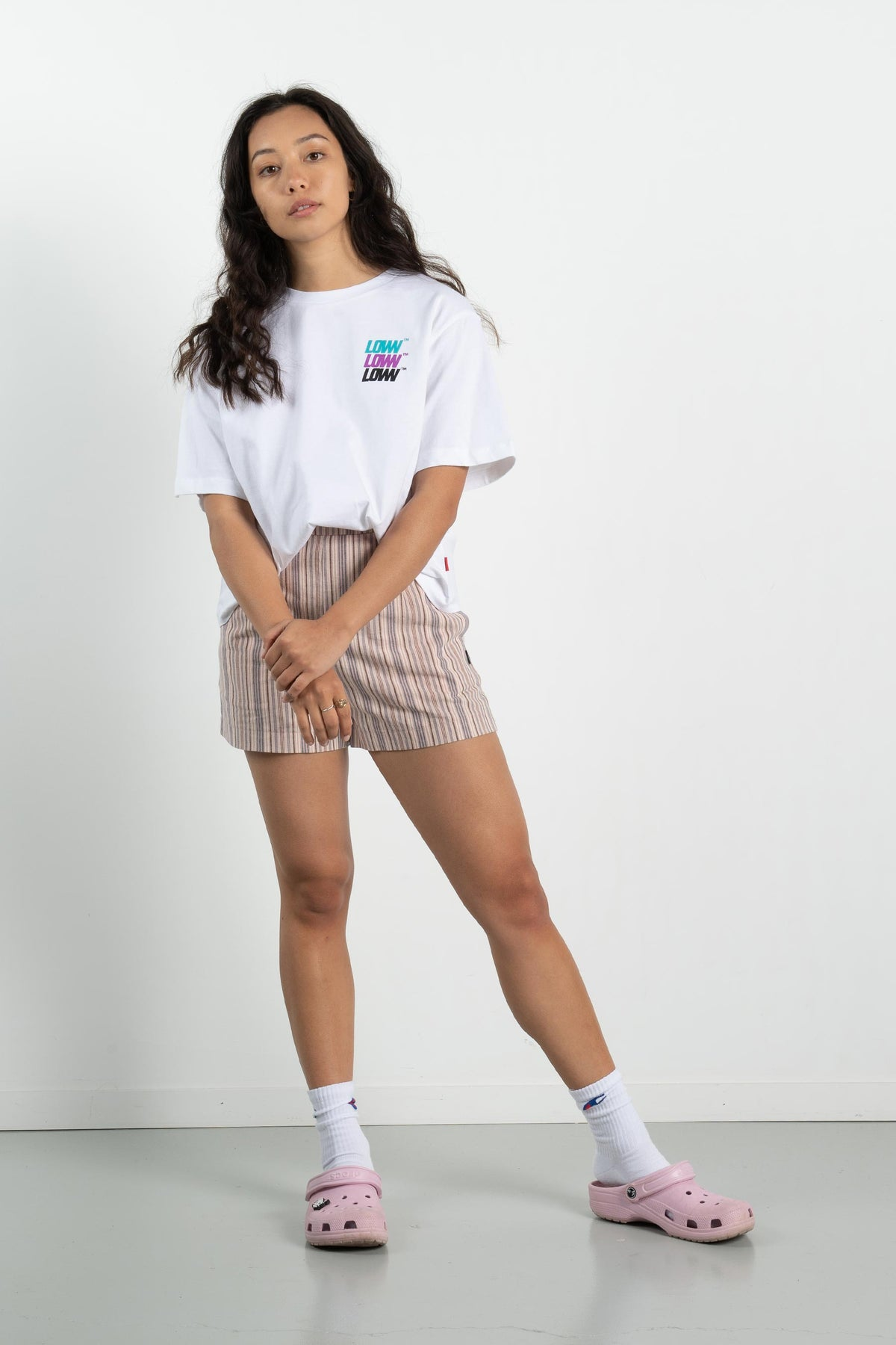 Womens Cropped Tee - Low Stack - White