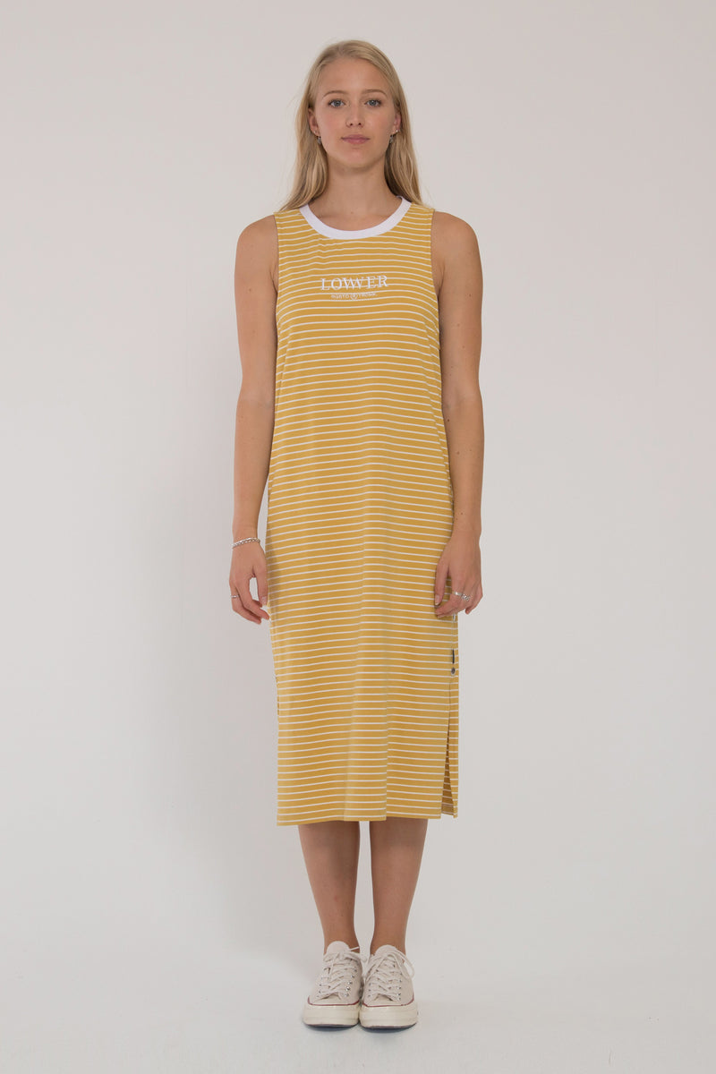 Mabel Dress - Tumeric & White Stripe