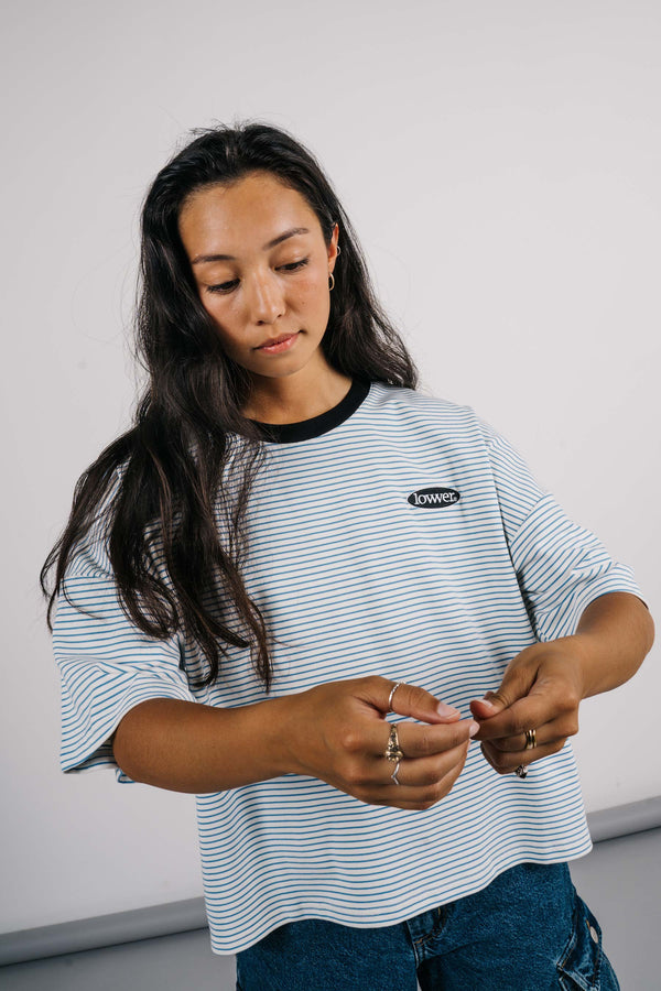 Matilda Oversized Tee - Apple Patch - Blue/White Stripes