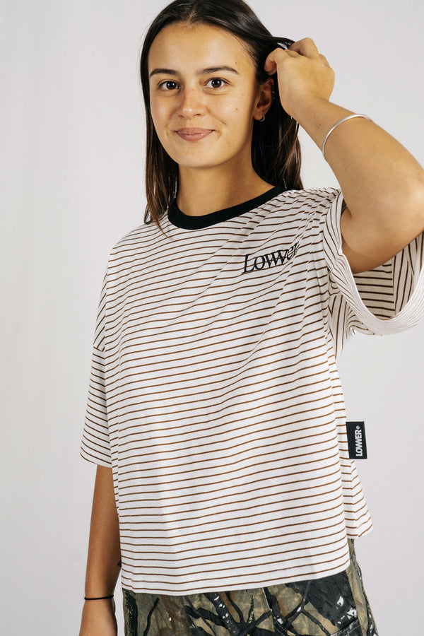 Matilda Oversized tee - Brown/White Stripes