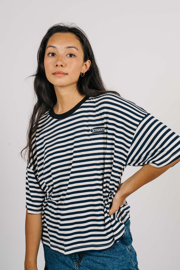 Matilda Oversized Tee - Apple Patch - Navy/White Stripes