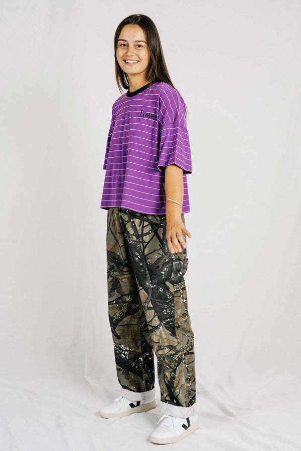 Matilda Oversize Tee - Purple/White Stripe