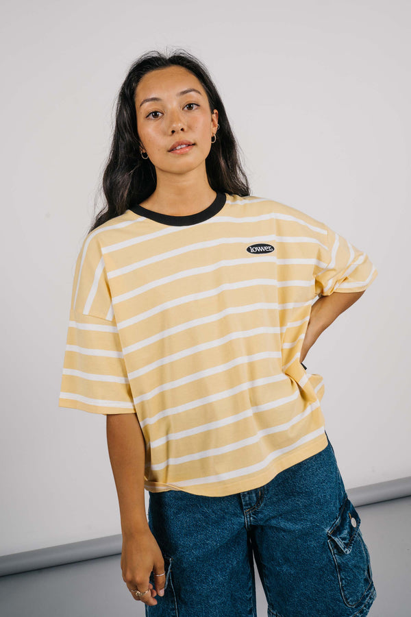 Matilda Oversized Tee - Apple Patch - Yellow/White Stripe