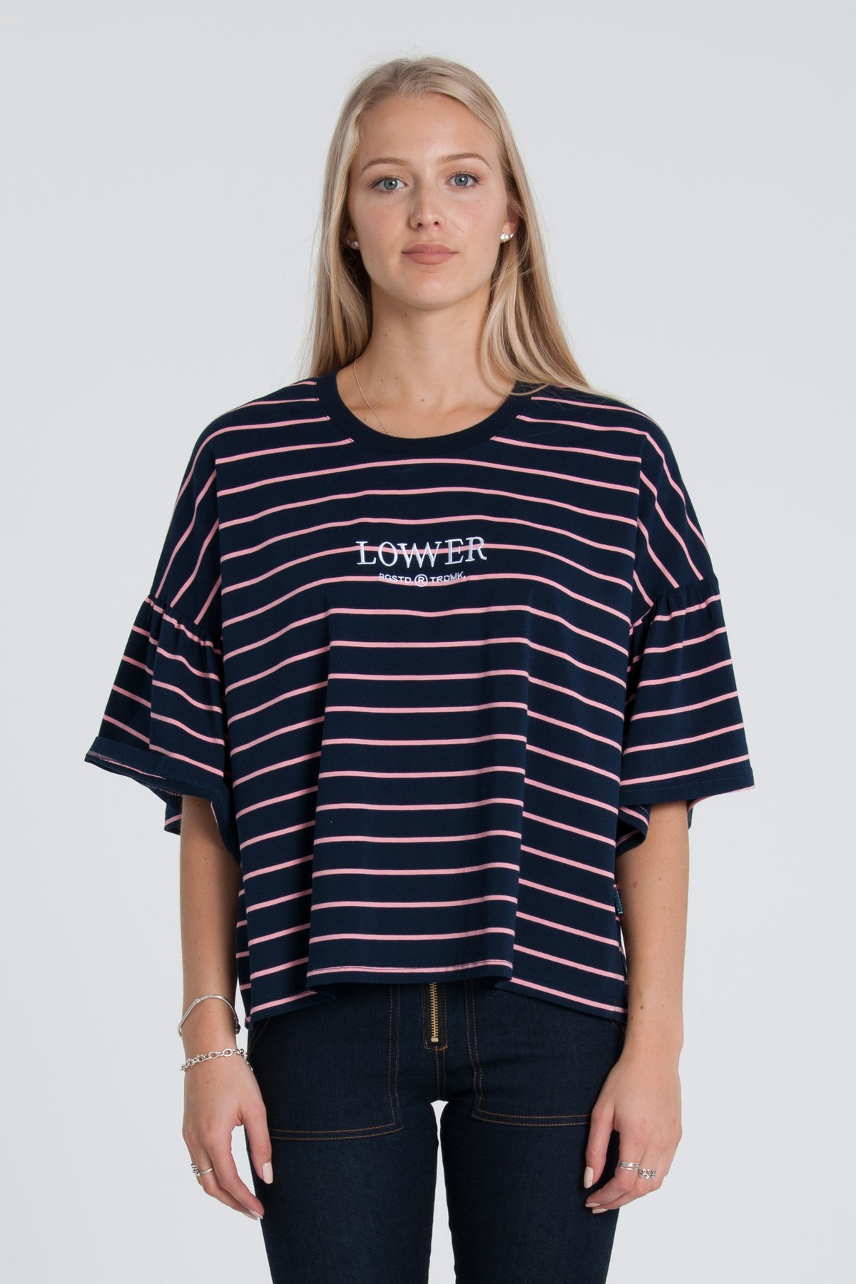 Mazzy Tee - Navy/Pink Stripe
