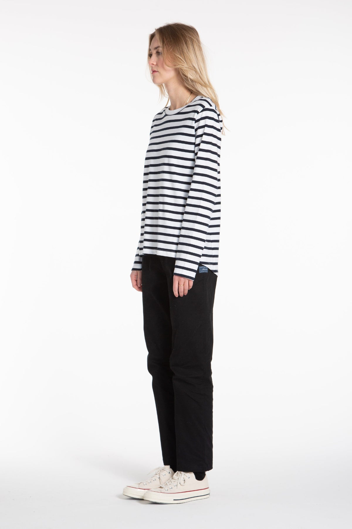 Organic Scoop LS Tee - Navy/Stripe