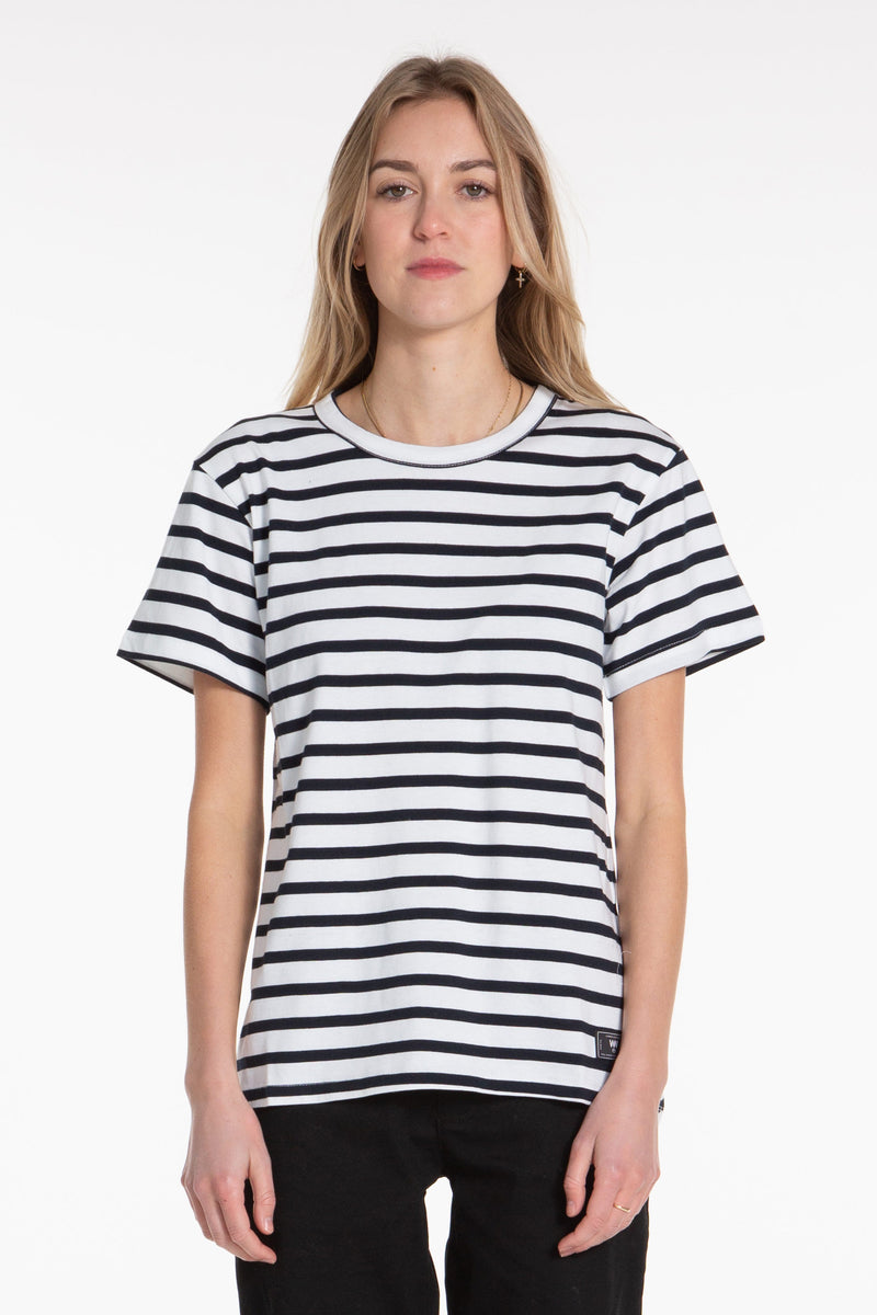 Organic Scoop Tee - Navy/Stripe