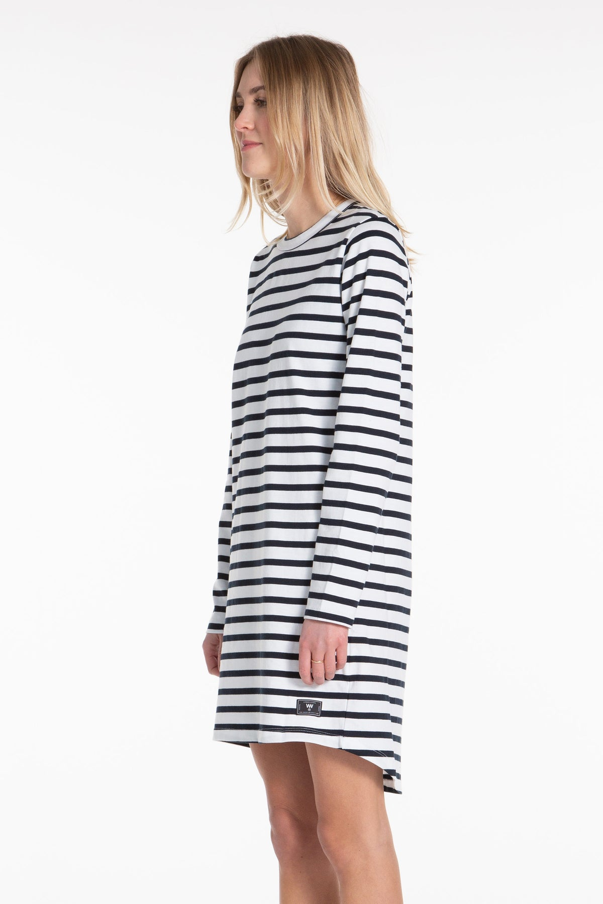 Organic LS Tee Dress - Navy/Stripe