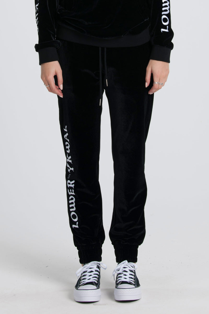 Old English Velvet Trackies - Black