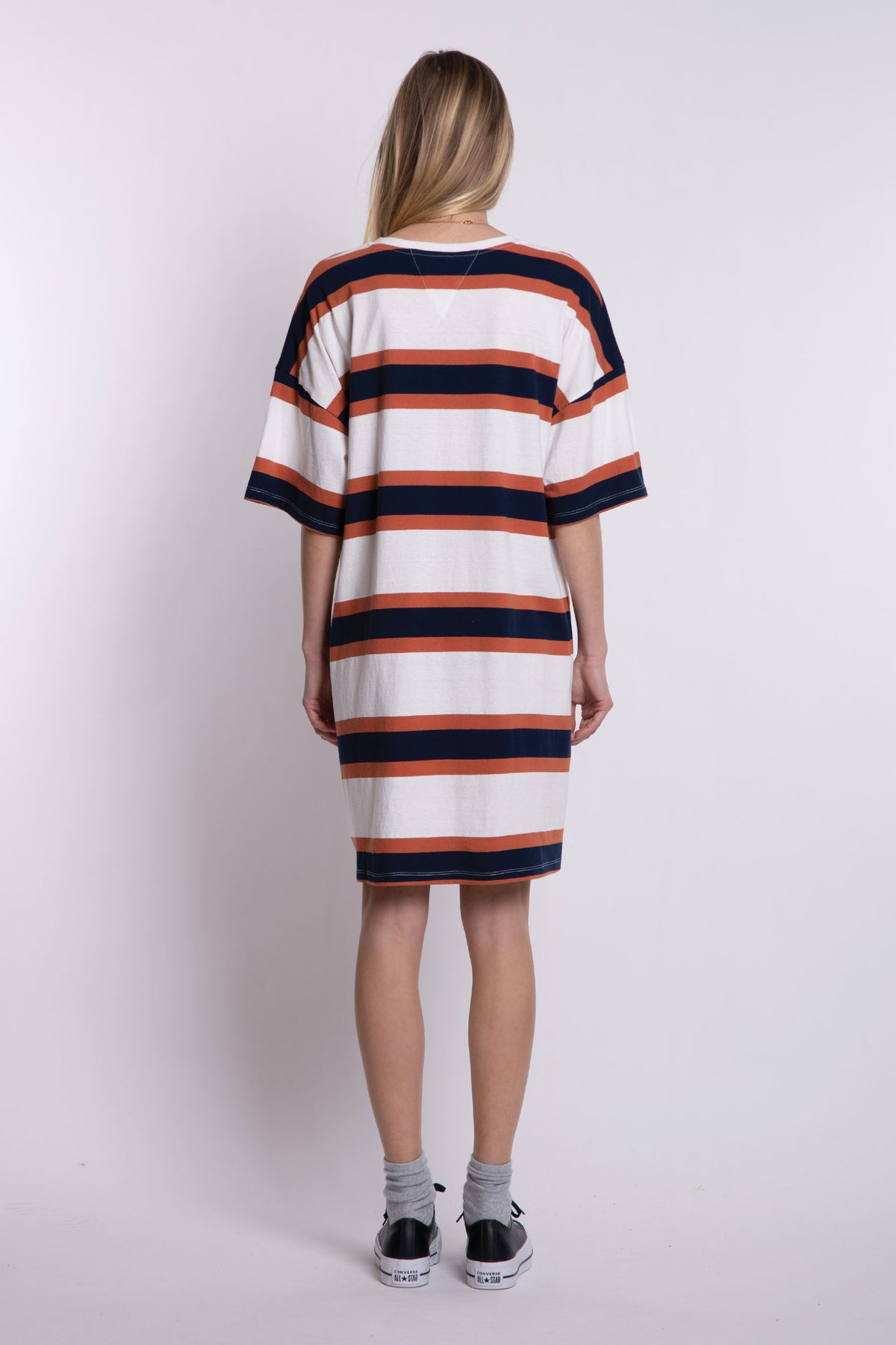 Matilda Oversized Tee Dress - Brown/Navy Stripe