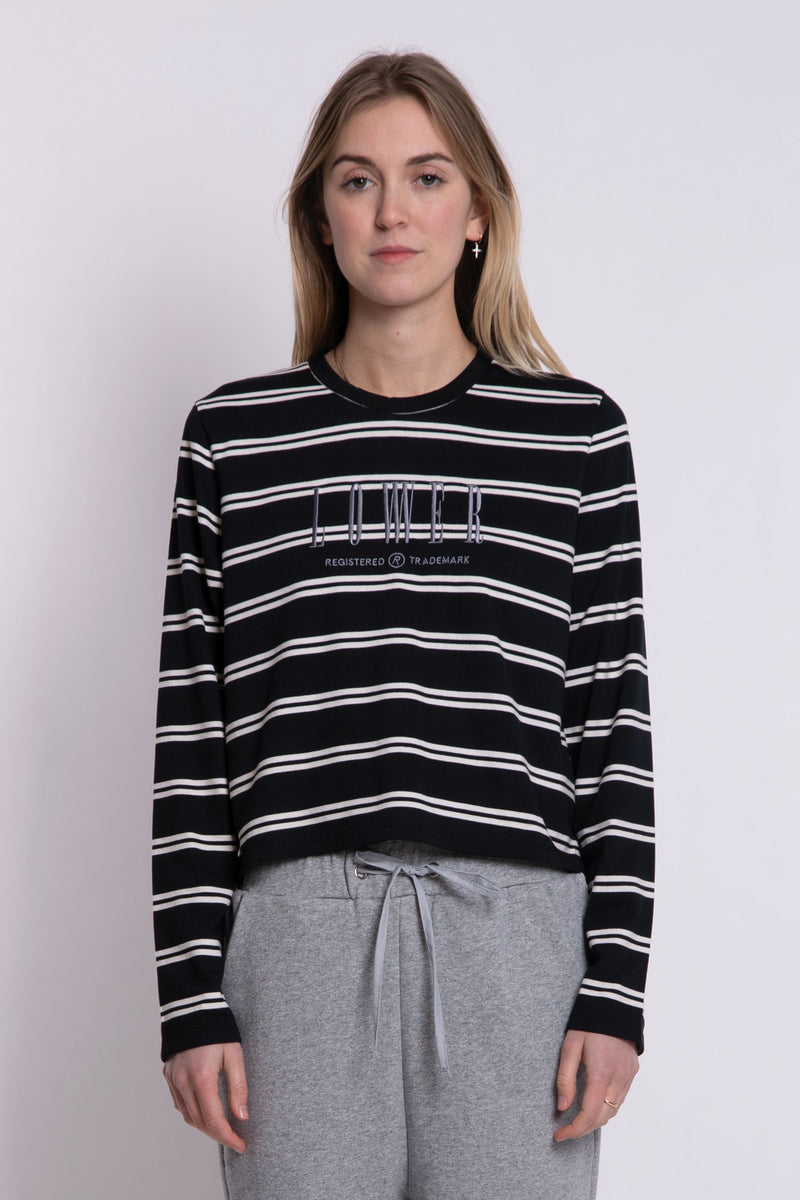 Matilda Cropped LS Tee - Black/White