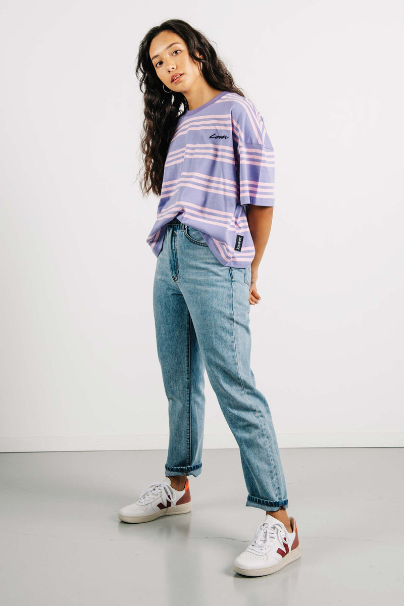 Oversized Tee - Carpenter - Violet/Pink Stripes