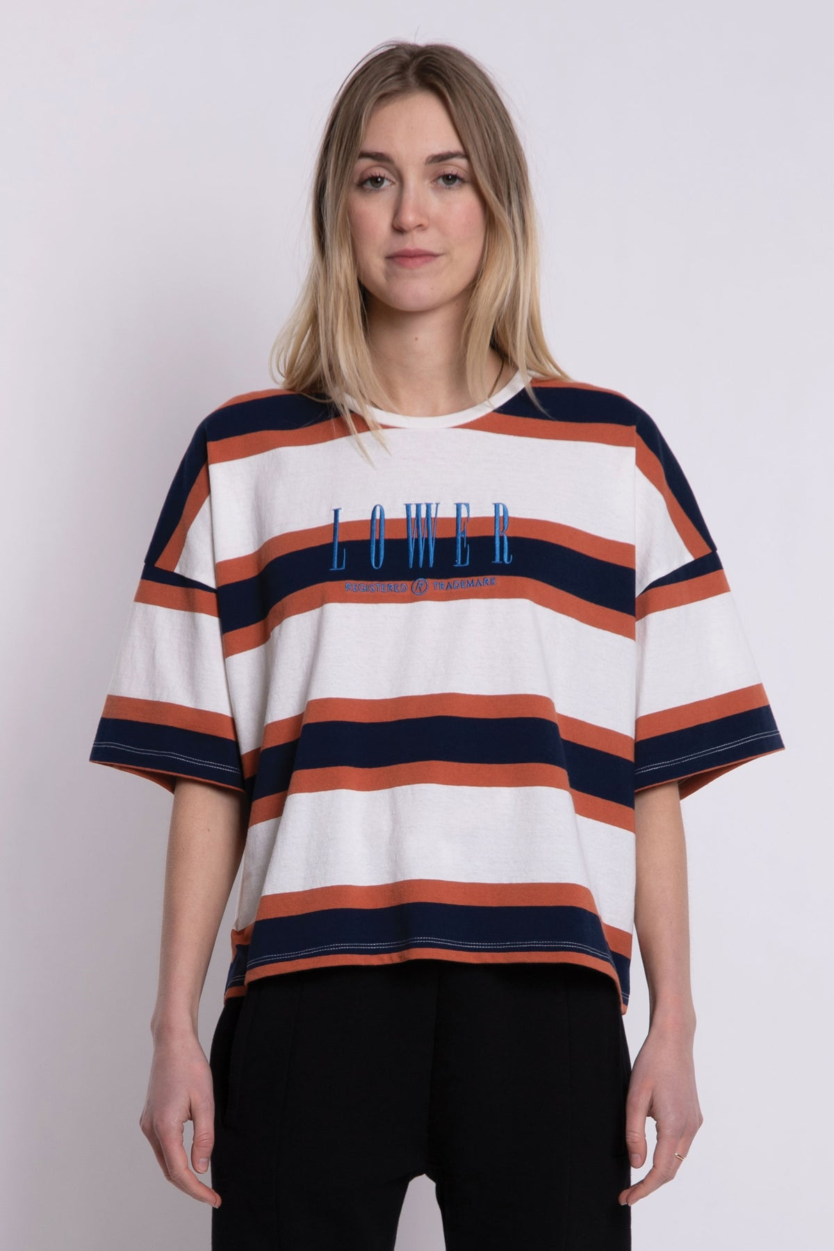 Matilda Oversized Tee - Brown/Navy/White