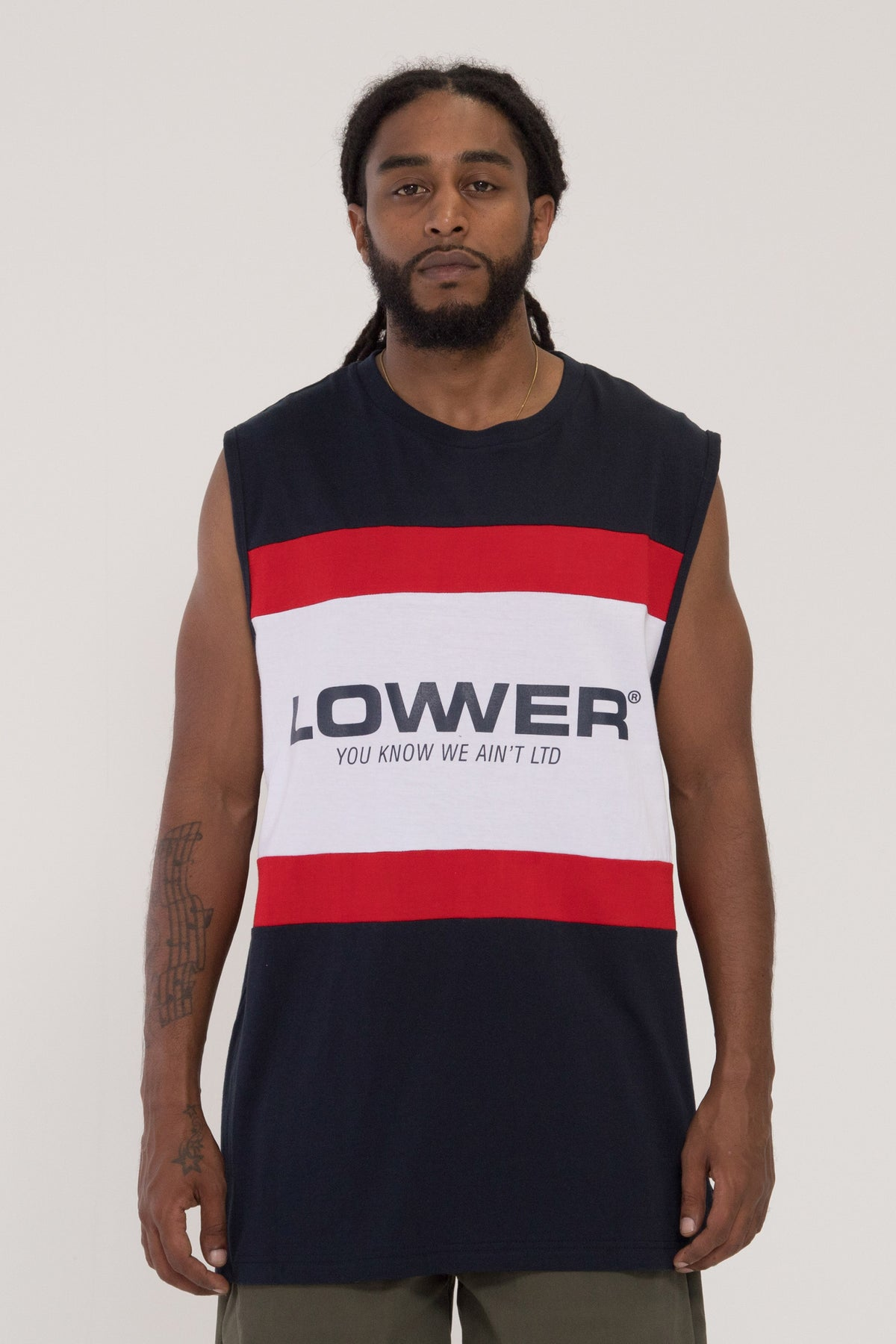 Euro Panel Cut Tank - Navy/Burgandy