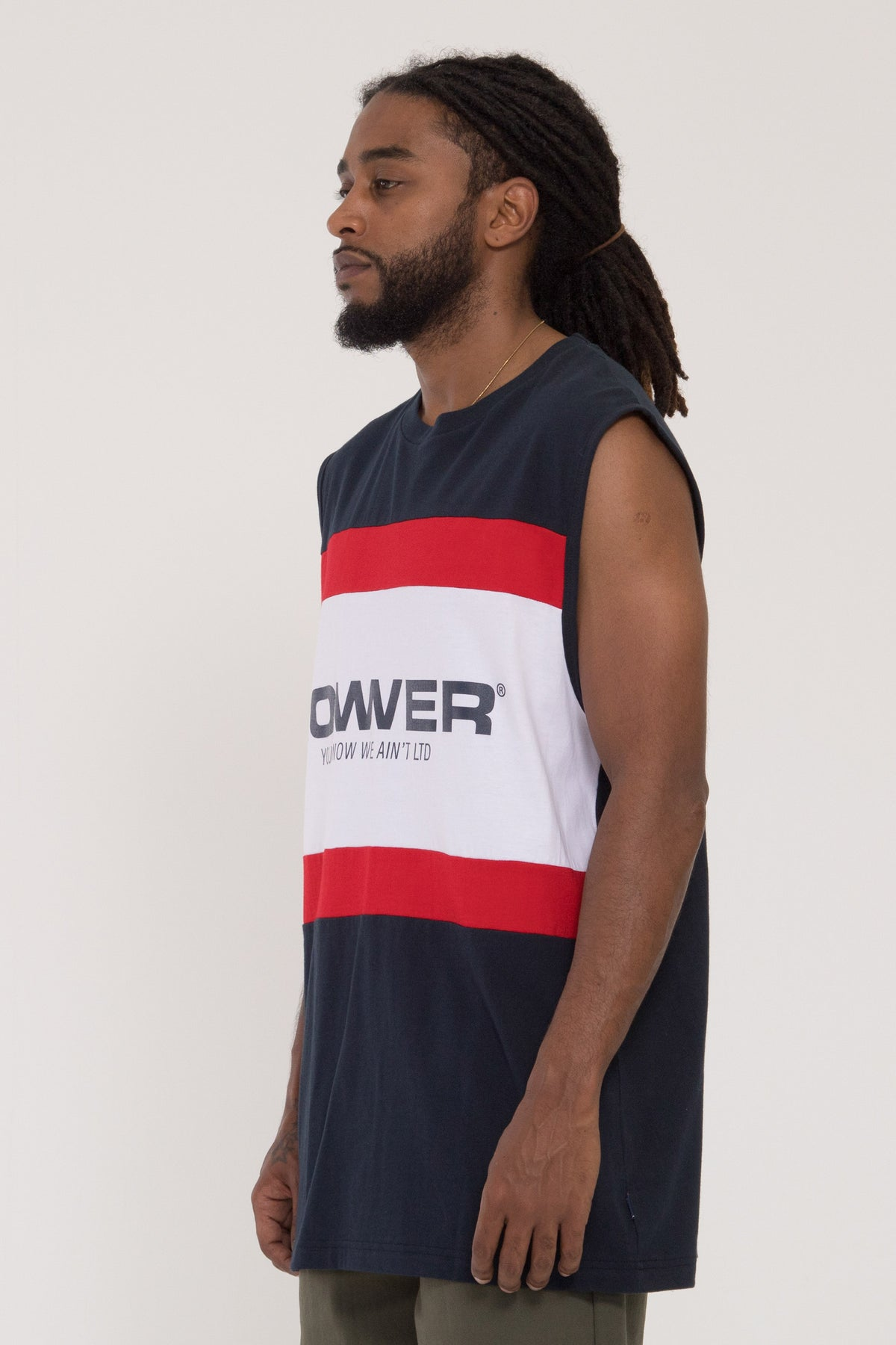 Euro Panel Cut Tank - Navy/Red