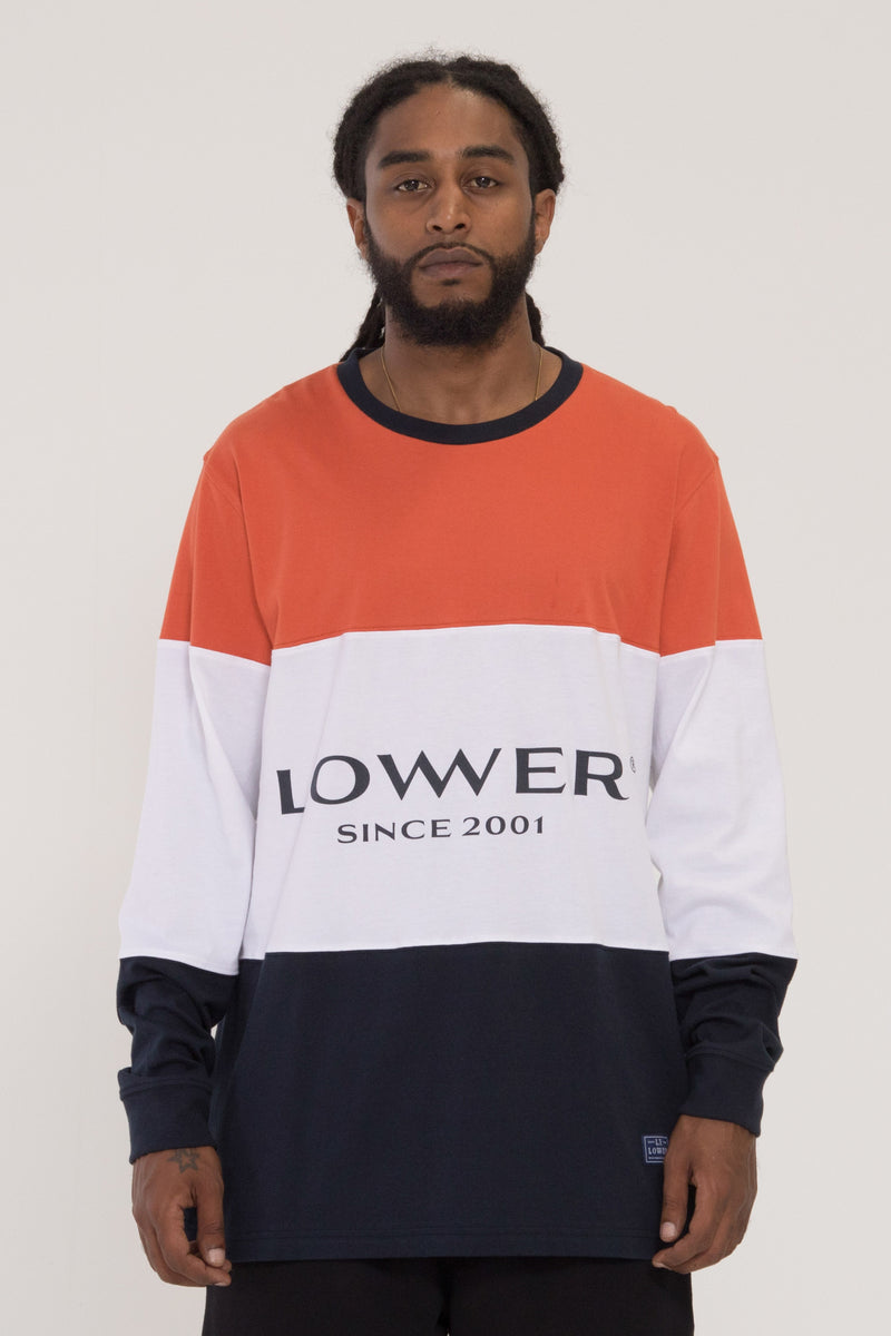 Exec Panel Long Sleeve Tee - Orange/White/Navy