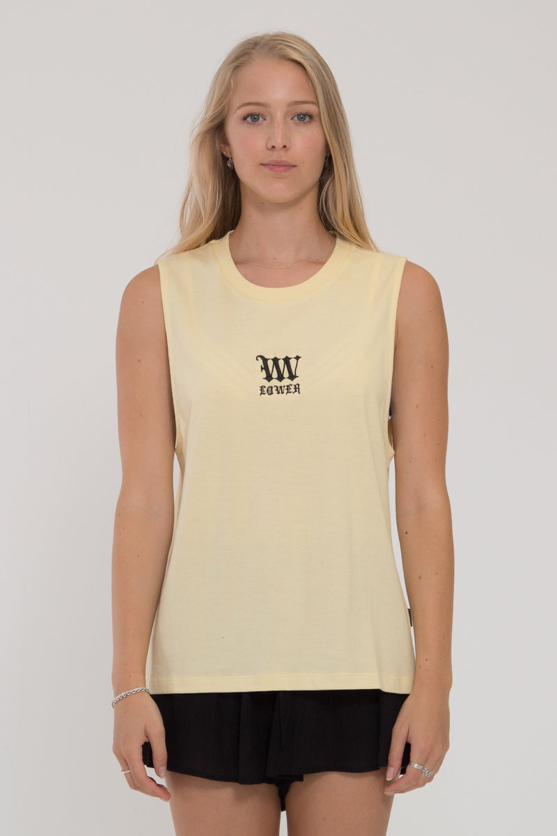 Black Letter Parker Tank - Pale Yellow