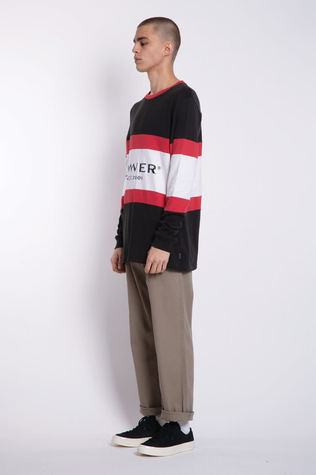 Executive Panel LS Tee - Charcoal/Red/White