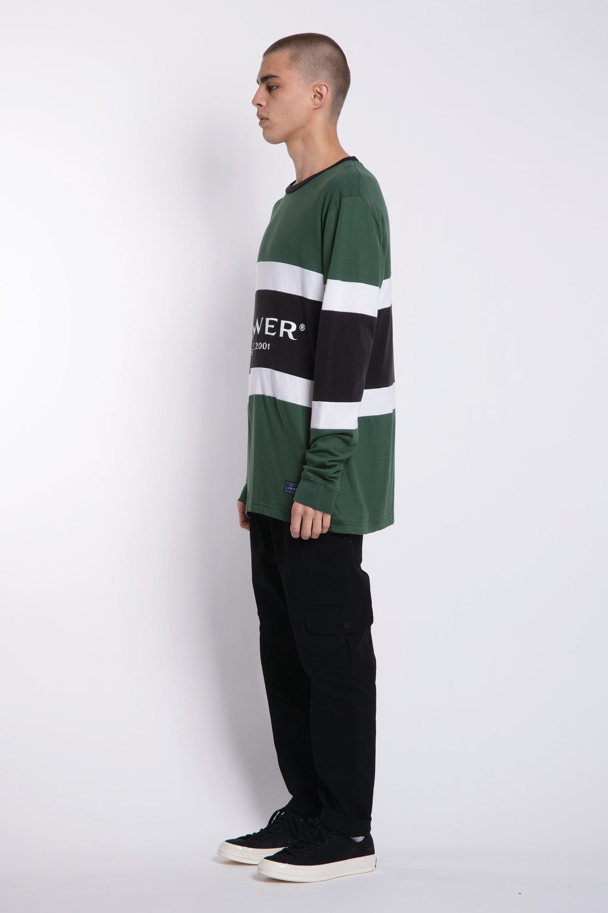 Executive Panel LS Tee - Green/White/Charcoal
