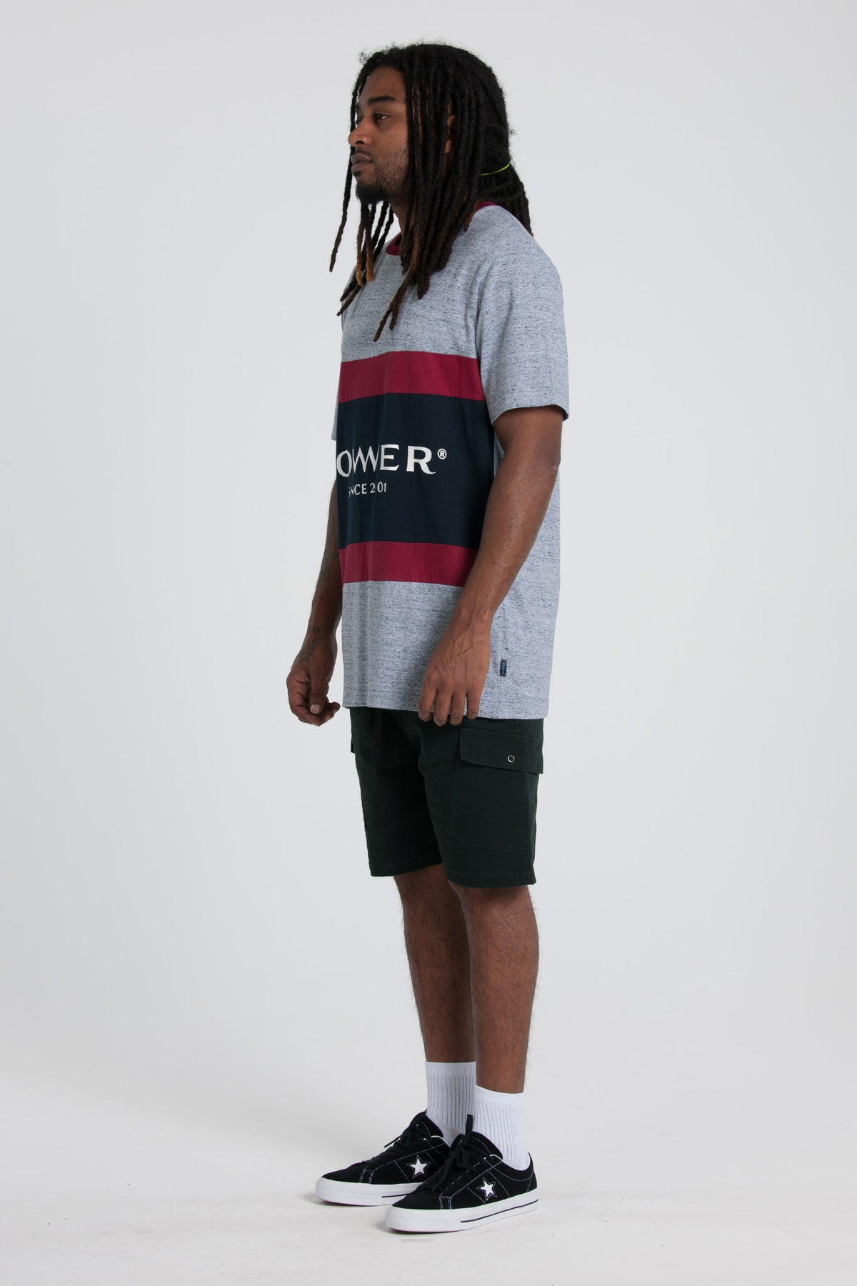Executive Panel Tee - Grey Marle/Red/Navy