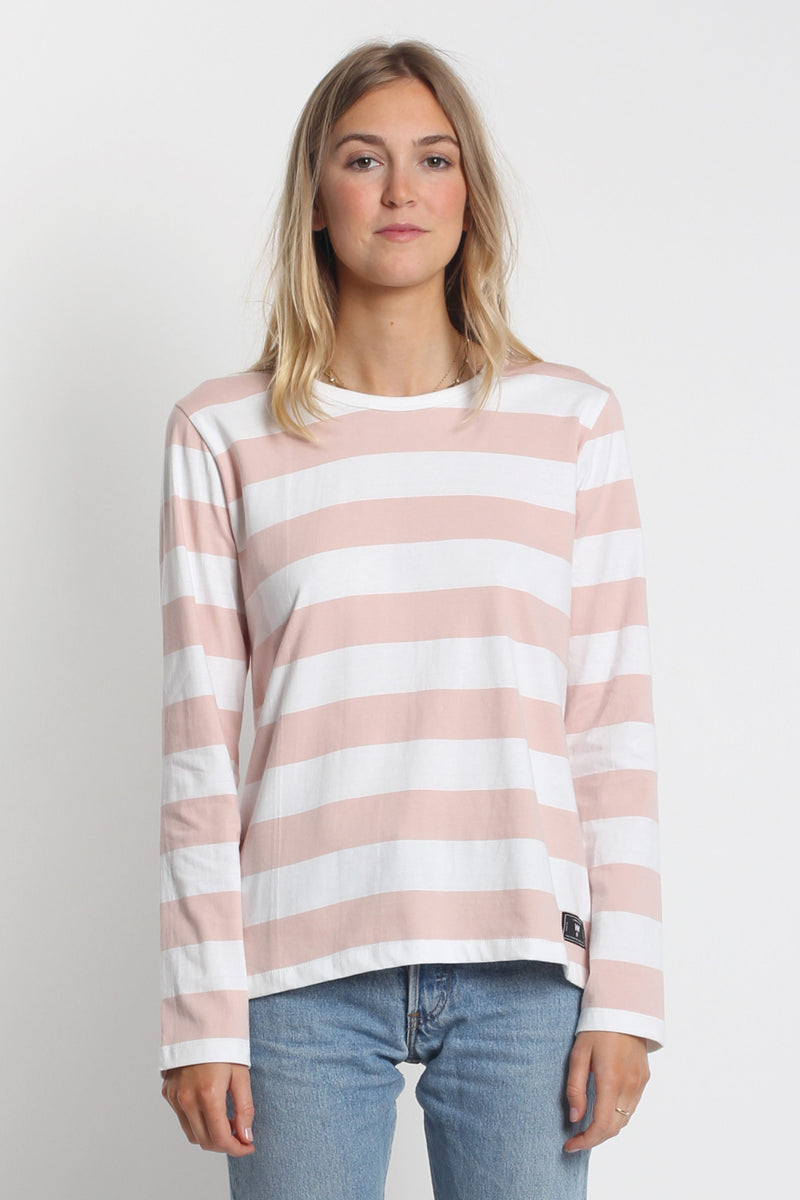 Classic LS Tee - Pink/White Stripe