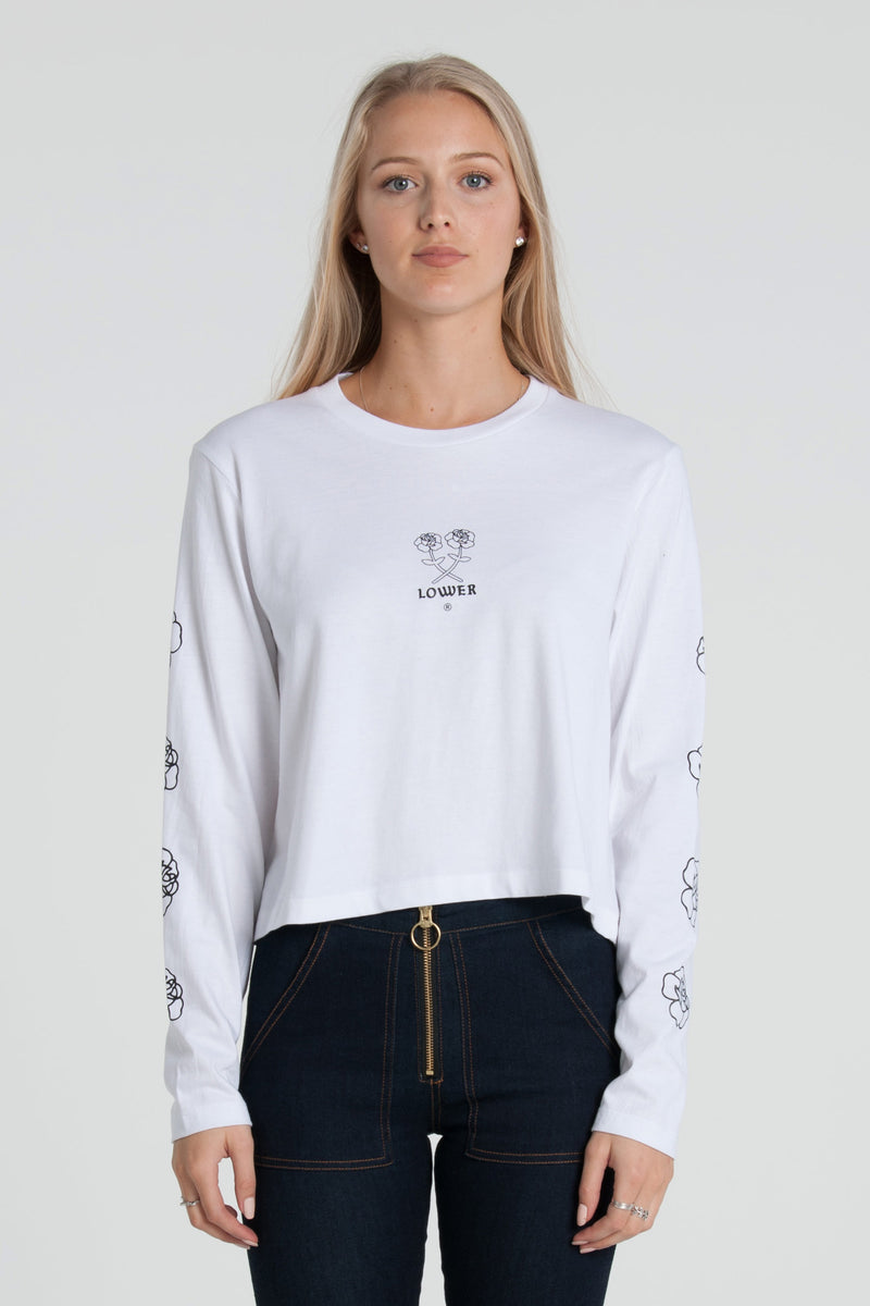 Posie Cropped Long Sleeve - White