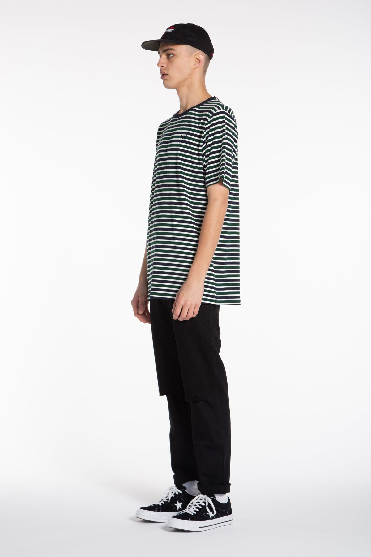 Triple U Stripe QRS Tee - Navy/Green