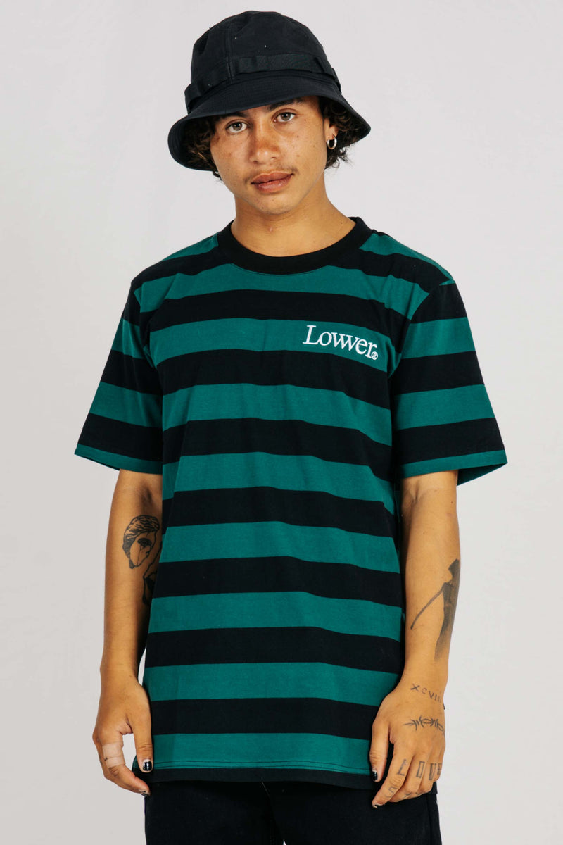 Rail Tee - NewApple - Navy/Green Stripes