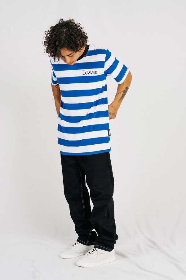 Rail Tee - NewApple - Royal Blue/ White Stripe